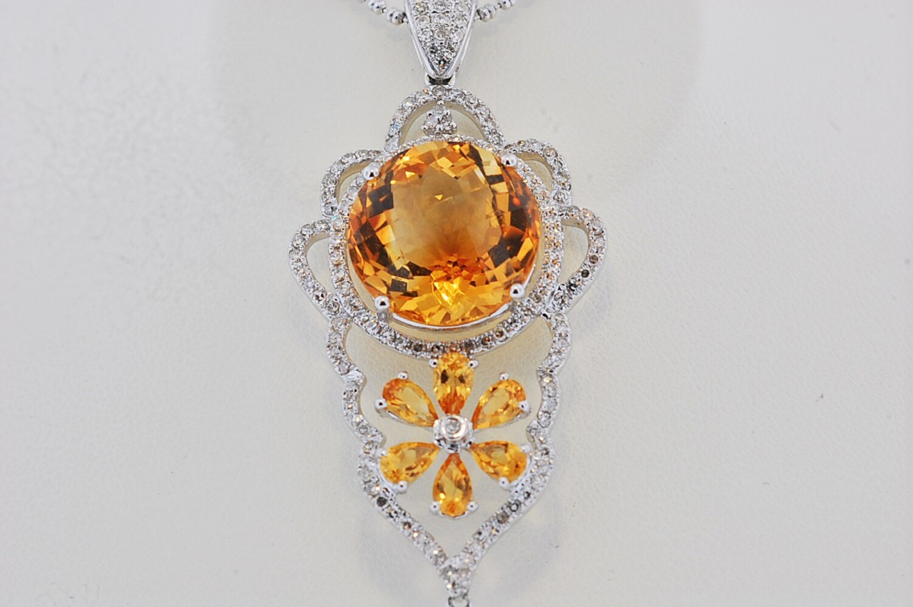 Ladies citrine diamond 14kt white gold necklace ac052 adams citrine diamond necklace 52 aloadofball Image collections
