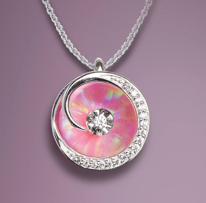 Illusia pink opal pendant adams jewelersadams jewelers pink opal pendant aloadofball Image collections