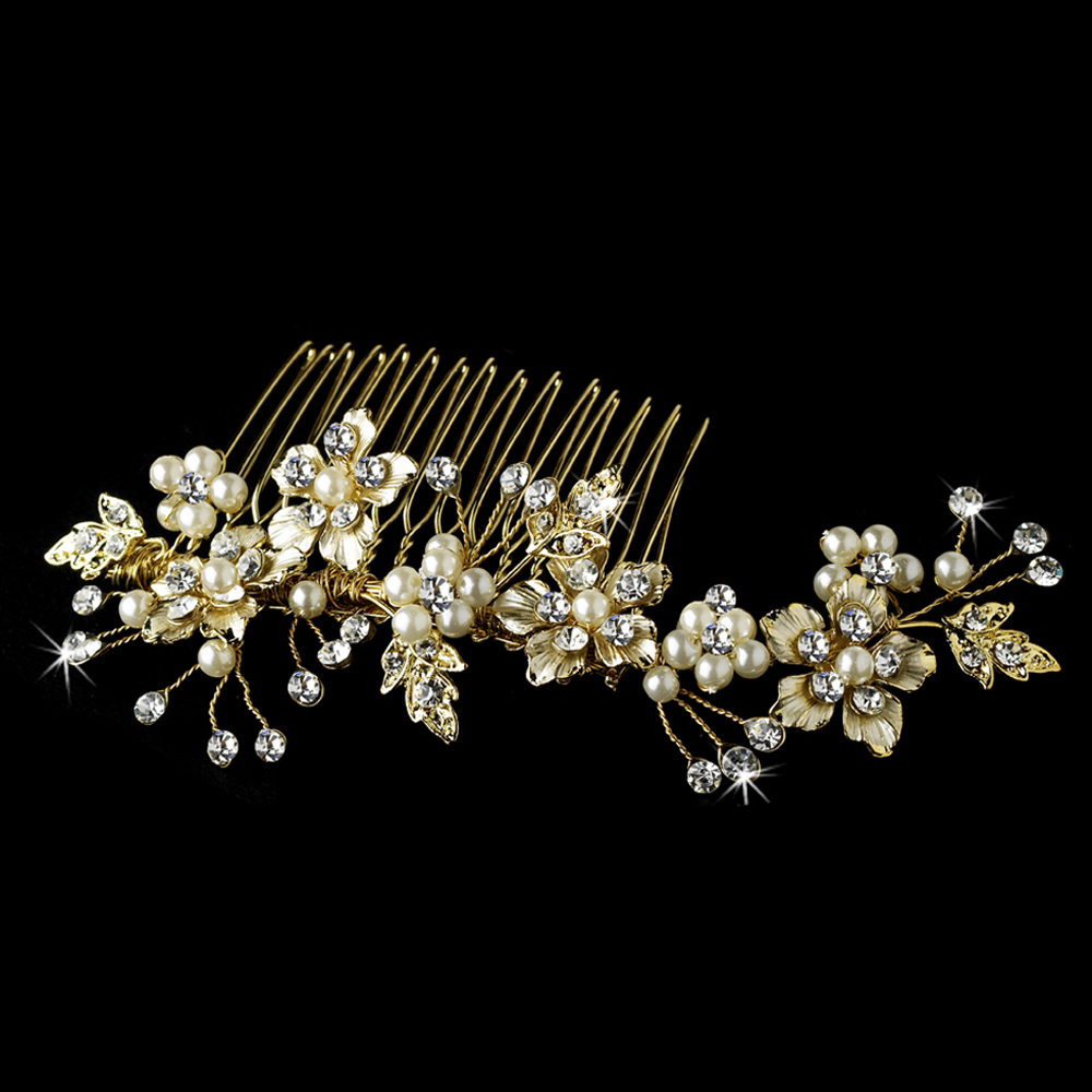 Elegant Bridal Pearl Hair Comb Accent 039 Gold Adam S Jewelersadam Jewelers