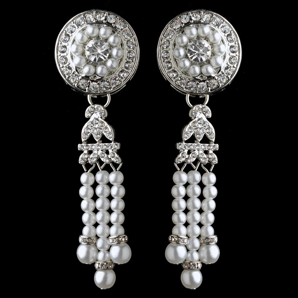 Rhodium White Pearl Rhinestone Dangle Great Gatsby Earrings