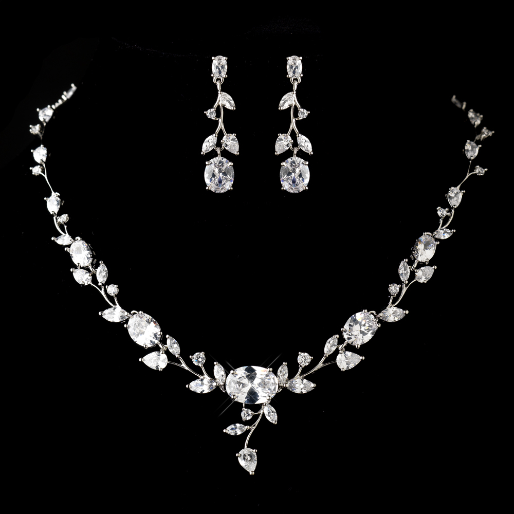 Antique Silver Clear Cz Crystal Necklace Earrings Jewelry Set 1311 Adam S Jewelersadam Jewelers