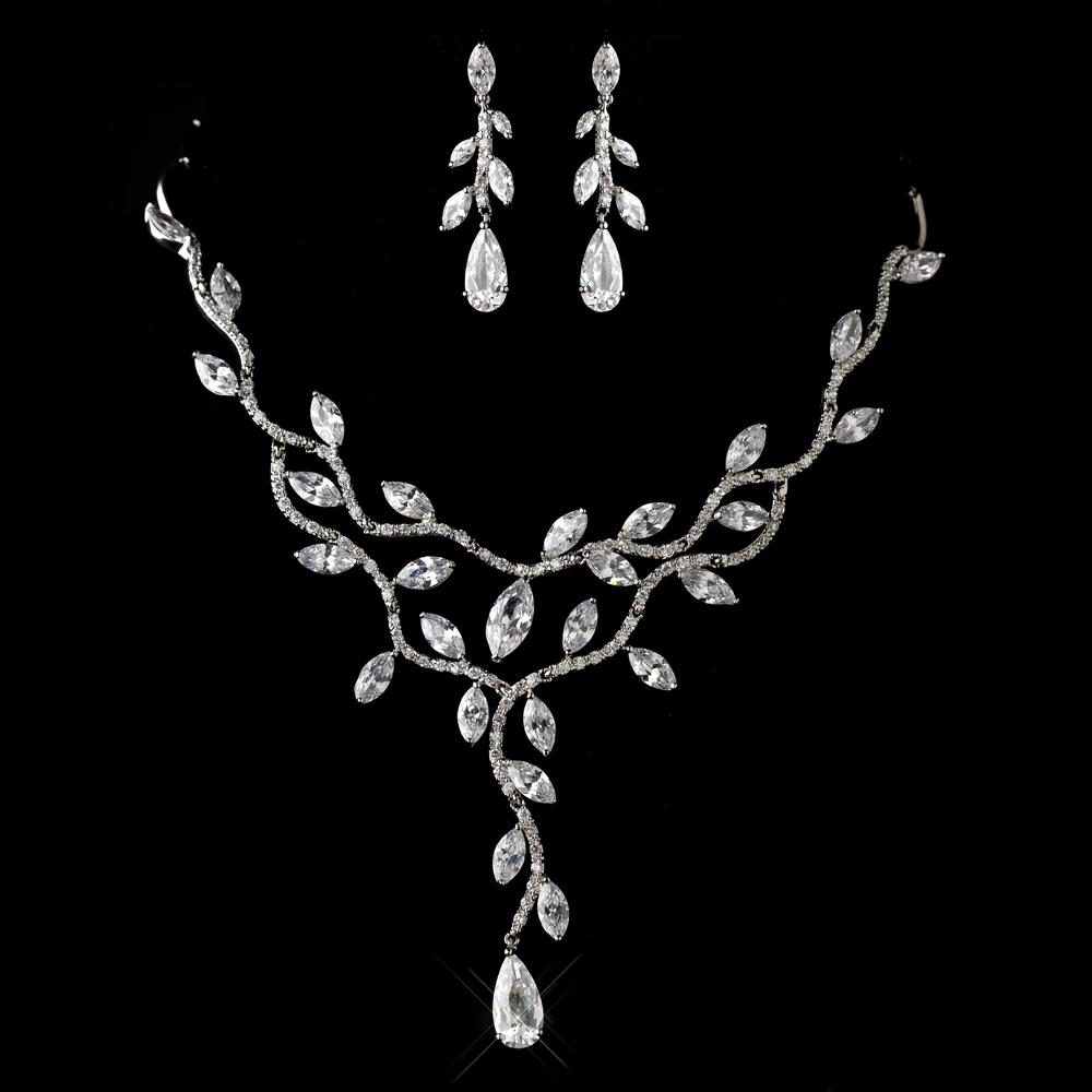 Antique Silver Clear Cz Crystal Necklace Earrings Jewelry Set 1312 Adam S Jewelersadam Jewelers