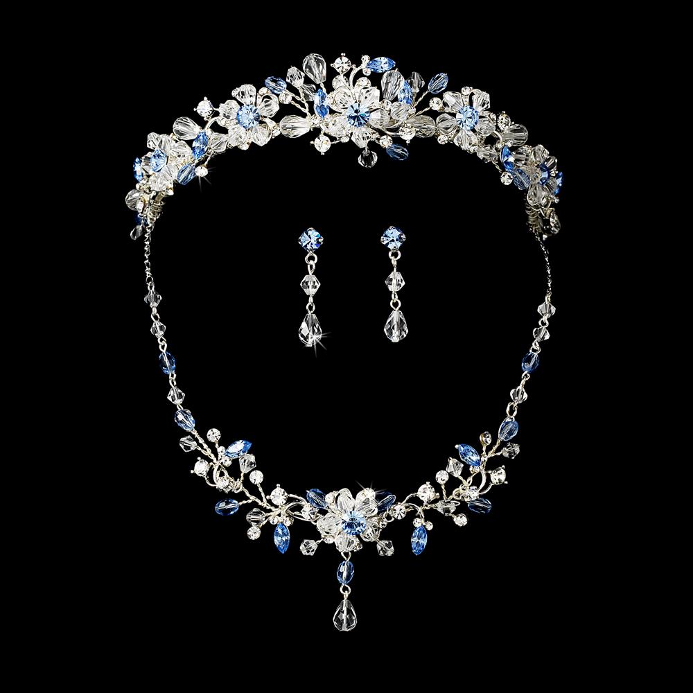 Light Blue Swarovski Crystal Bridal Jewelry Amp Tiara Set