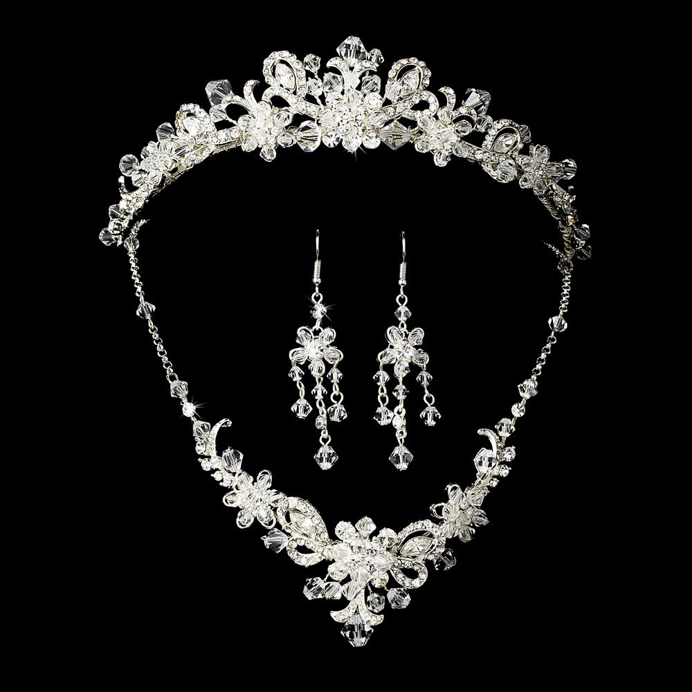 Swarovski Crystal Bridal Necklace Earring Tiara Set 7821 Gold Or Silver Adam S Jewelersadam Jewelers