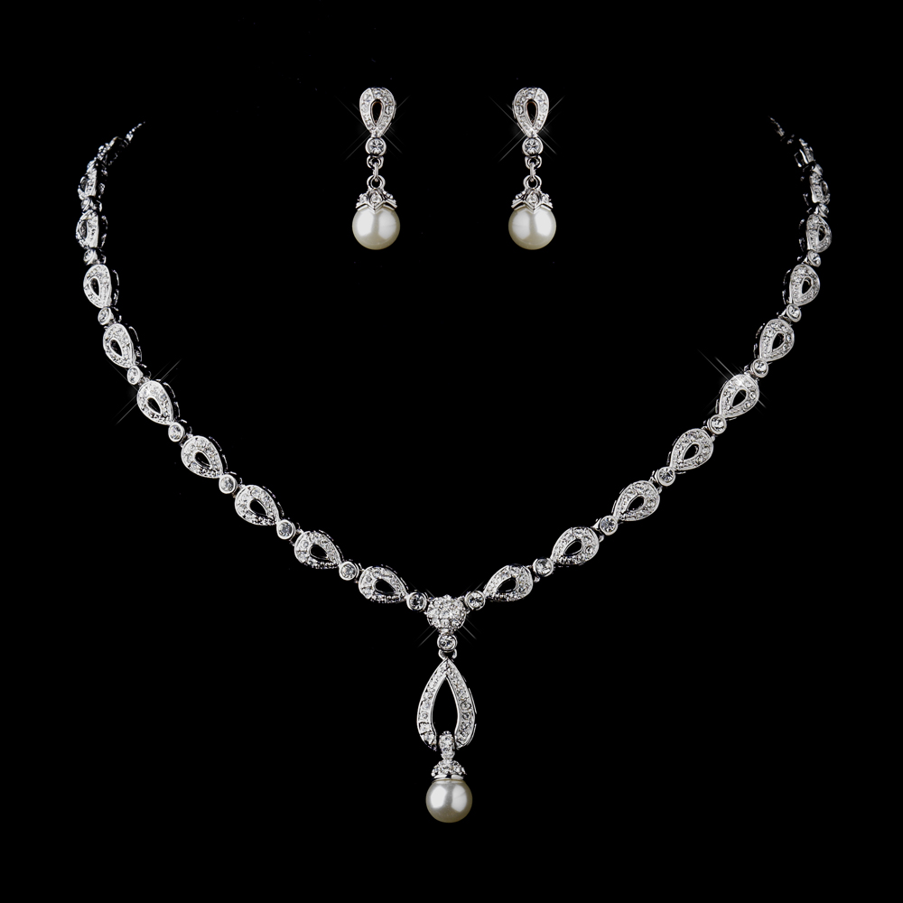 Silver Ivory Drop Pearl And Clear Cz Stone Necklace Earrings Bridal Jewelry Set 8763 Adam S Jewelersadam Jewelers