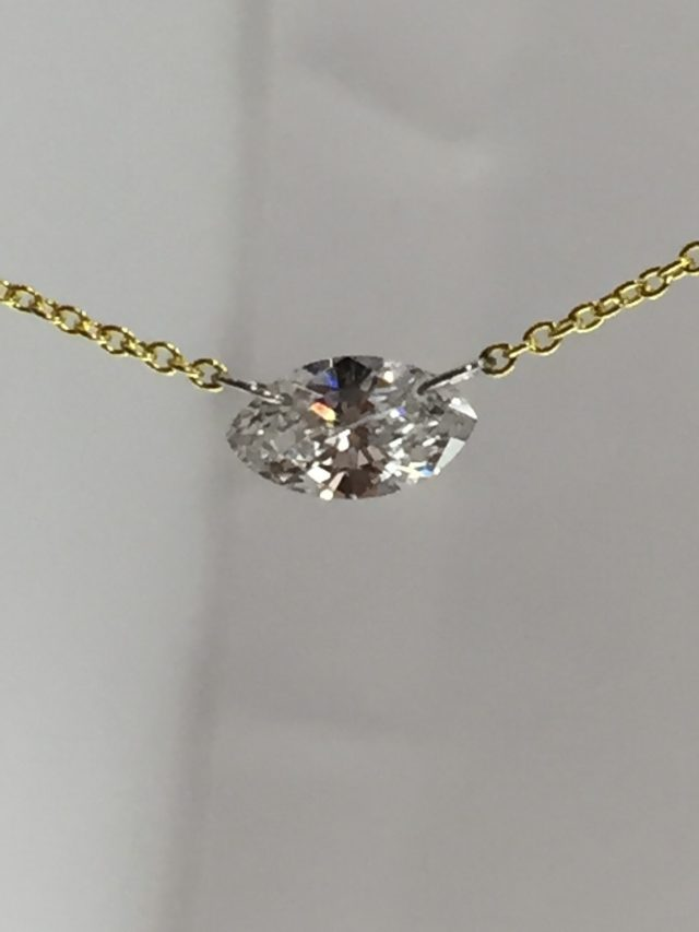Floating Marquise Cut Diamond 14kt Yellow Gold Necklace